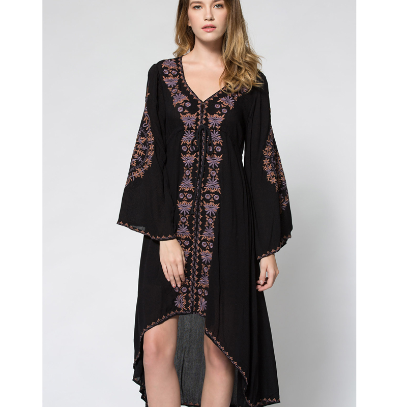 2018 summer new free bohe style embroidery long dress V collar cotton linen vintage holiday beach dress people hot robe