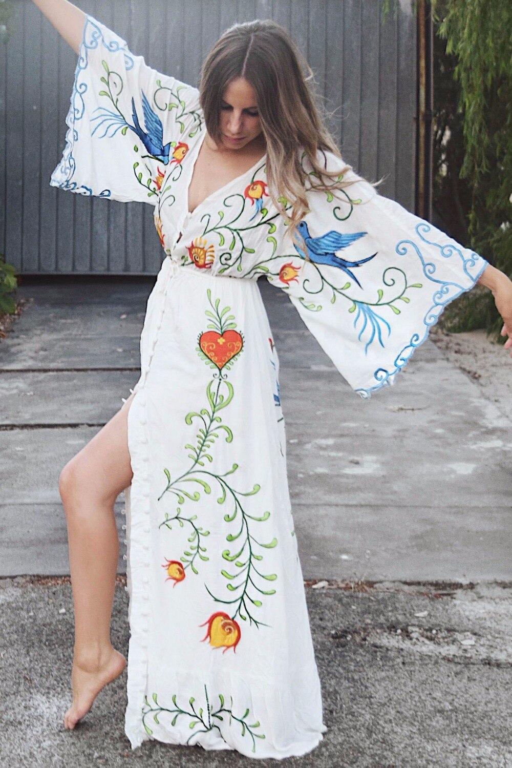 Gland Millésime Broderie Vacances Sexy Boho picture Bohème Floral Robe Color Plage Grande Split Coeur Color Picture Bouton Maxi Longue Taille Chic Dres D'été v80mNnw