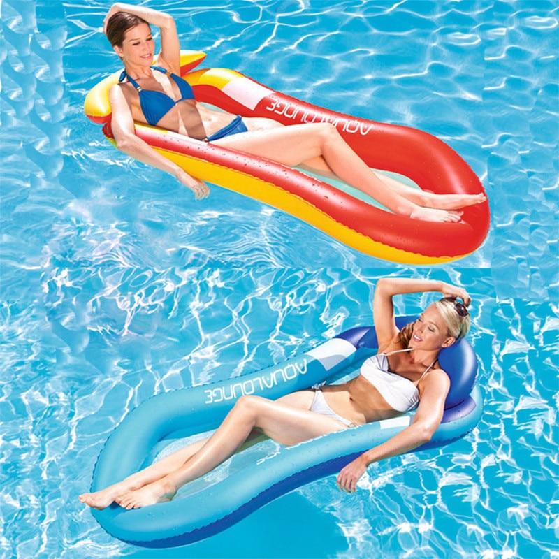 Summer Inflatable Beach Lounger Backrest Water Sports Hammock Single Air Mattresses Recliner Floating Sleeping Bed Chair Cushion