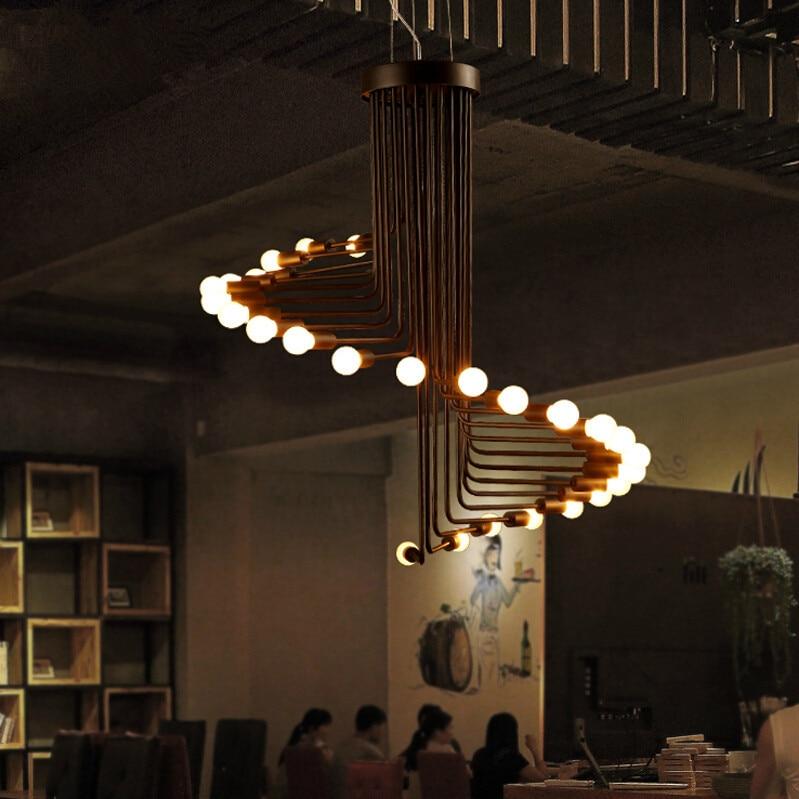 Fumat Loft Retro Chandelier Modern Art Deco Ruang Tamu Minimalis Makan Cafe Bar 26 Lampu Spiral Tangga Di Dari