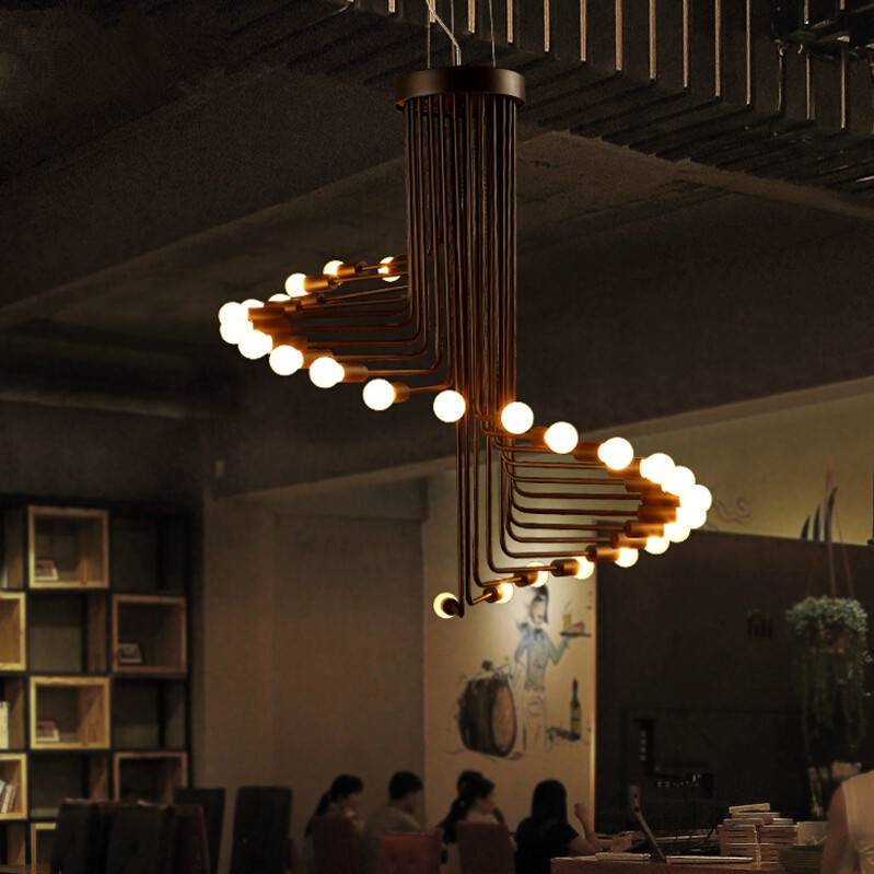 FUMAT Loft Retro Chandelier Modern Art Deco Minimalist Living Room Dinning Room Cafe Bar 26 Lights Spiral Stair Chandelier
