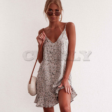 Floral Print Summer Dress Women V Neck Sleeveless CUERLY Strap Mini Dress Ruffle Casual Beach Dress Sundress Ladies Dresses ruffle neck floral sleeveless dress