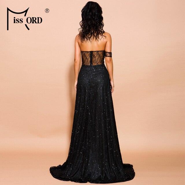 Missord 2019 Women Sexy Off Shoulder glitter Dresses Female High Split Maxi Elegant Backless  Dress  FT19526 4