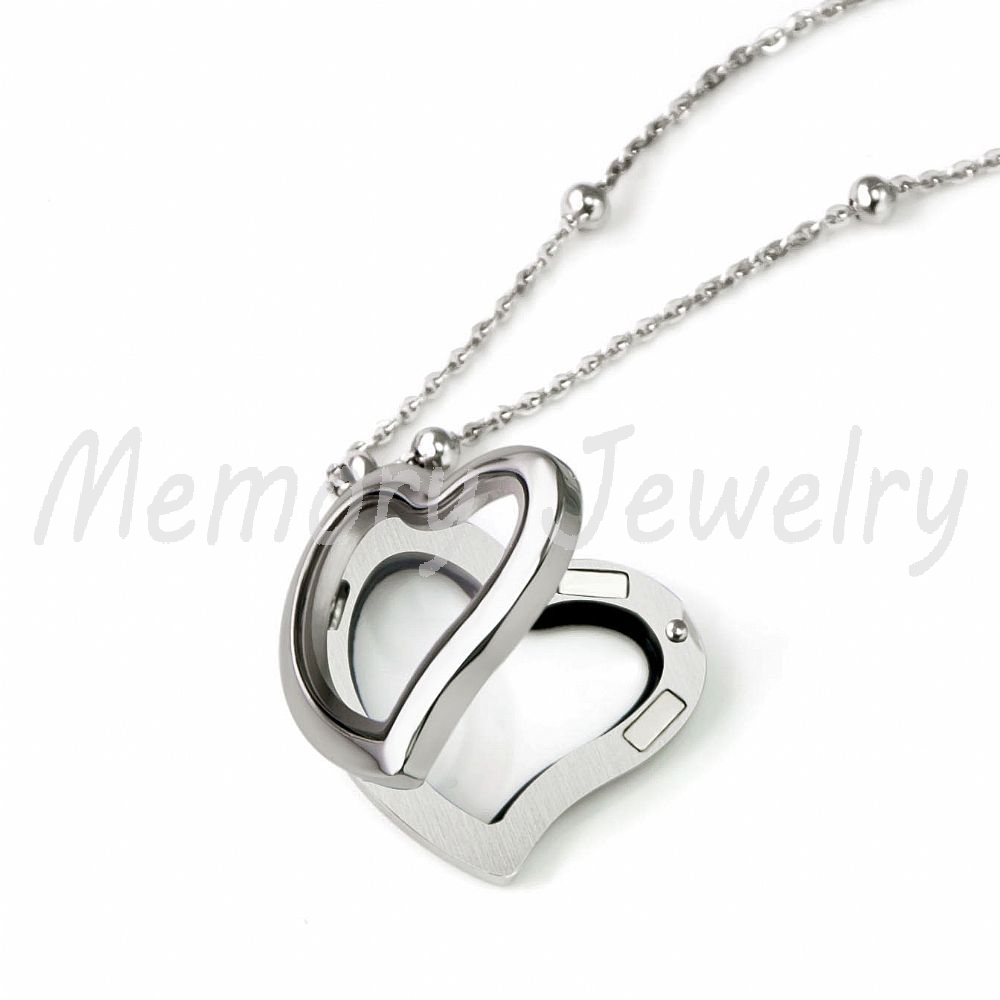 New style 30mm love heart stainless steel magnetic floating locket new style 30mm love heart stainless steel magnetic floating locket pendantorigami owl heart locket in pendants from jewelry accessories on aliexpress jeuxipadfo Images