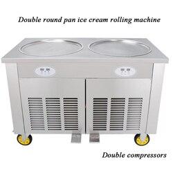 Komercyjne podwójne patelni smażone lody maszyny maszyna do lodu ice  27 kg/h płyta mrożąca do lodów  maszyna do lodów tajskich  płaskie smażone lody maker
