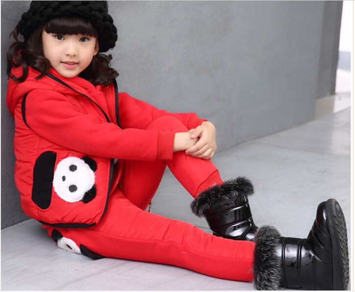 HOT New product Han edition qiu dong girls cotton long sleeve fleece three piece suit Pure