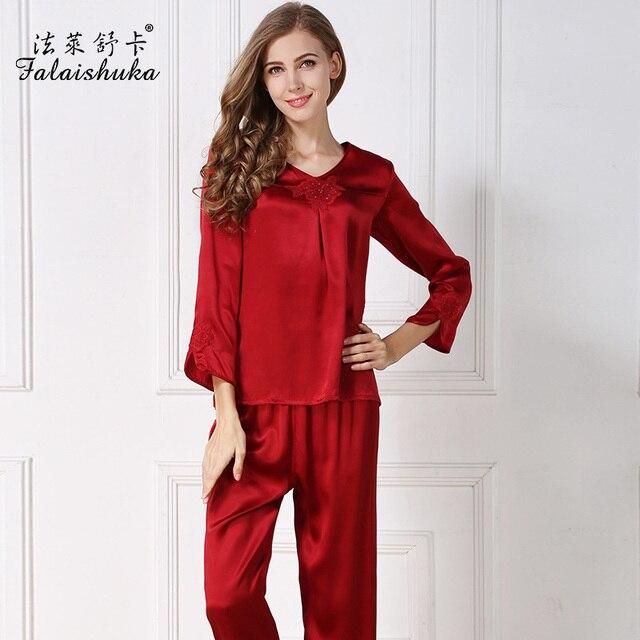 6a87f780e72e5 Femmes marque nouveau 100% soie ensembles de pyjama à manches longues  cheville-longueur pantalon