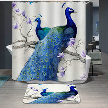 3D Digital Printing Peacock Shower Curtains Polyester Waterproof Bathroom Curtain Bath With Hooks Cortina