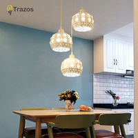 TRAZOS Modern Dining Room Pendant Light 3 Heads Round/Rectangle Ceiling Plate Indoor Living Room Bedroom Decoration Lamp