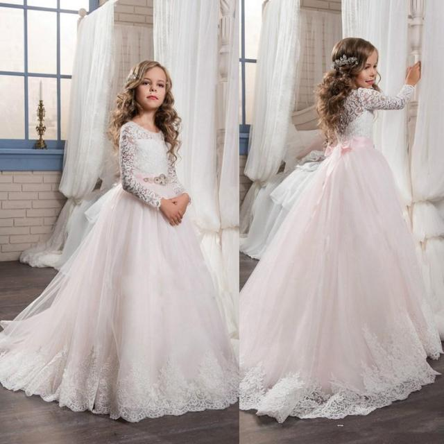 e4acecfbfdb 2017 Cute Princess Sheer Long Sleeves Flower Girls  Dress Lace Appliques  Pink A-line Crew Neck Kids Formal Wear with Bow Sash F5