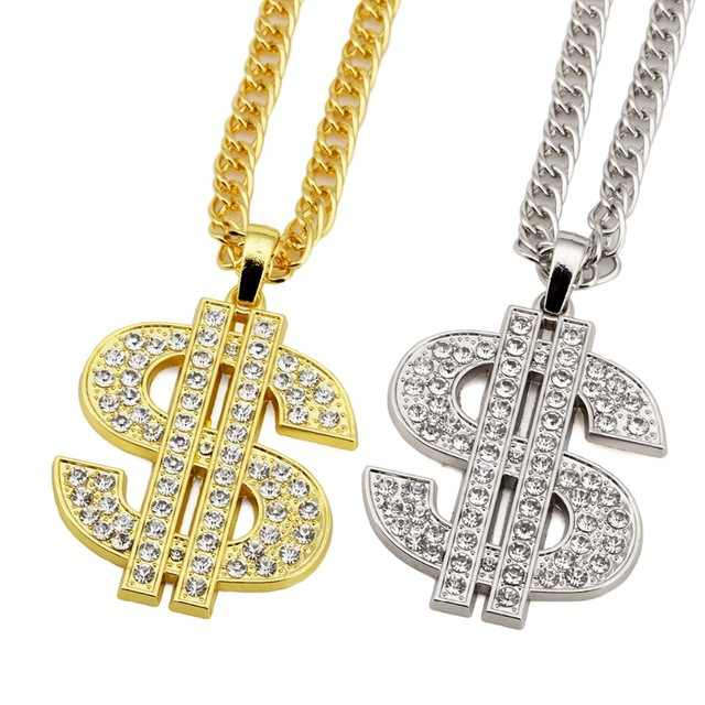 Men Women Charm  Golden Dollar Sign $ Necklaces 31.5 inch Money Long Crystal Chains Hip Hop Bling Jewelry Gifts Pendants