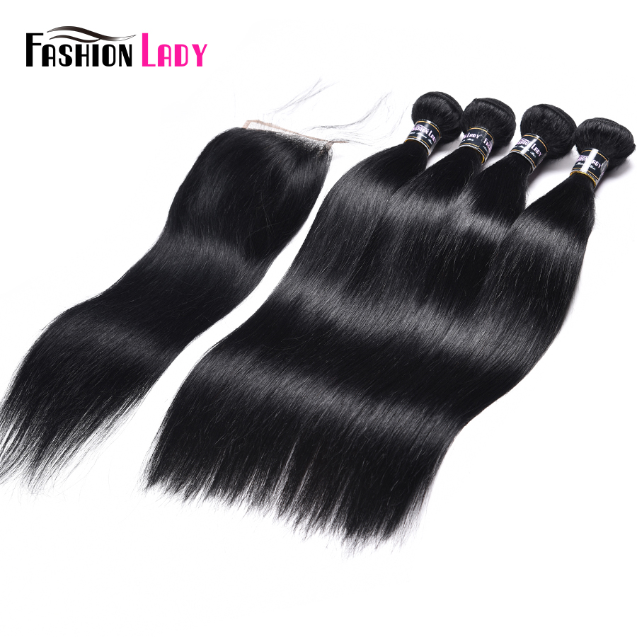 Fashion Lady Pre-Colored Indian Hair Bundles With Closure Jet Black Human Hair 4 Bundles With Closure Straight Non-Remy