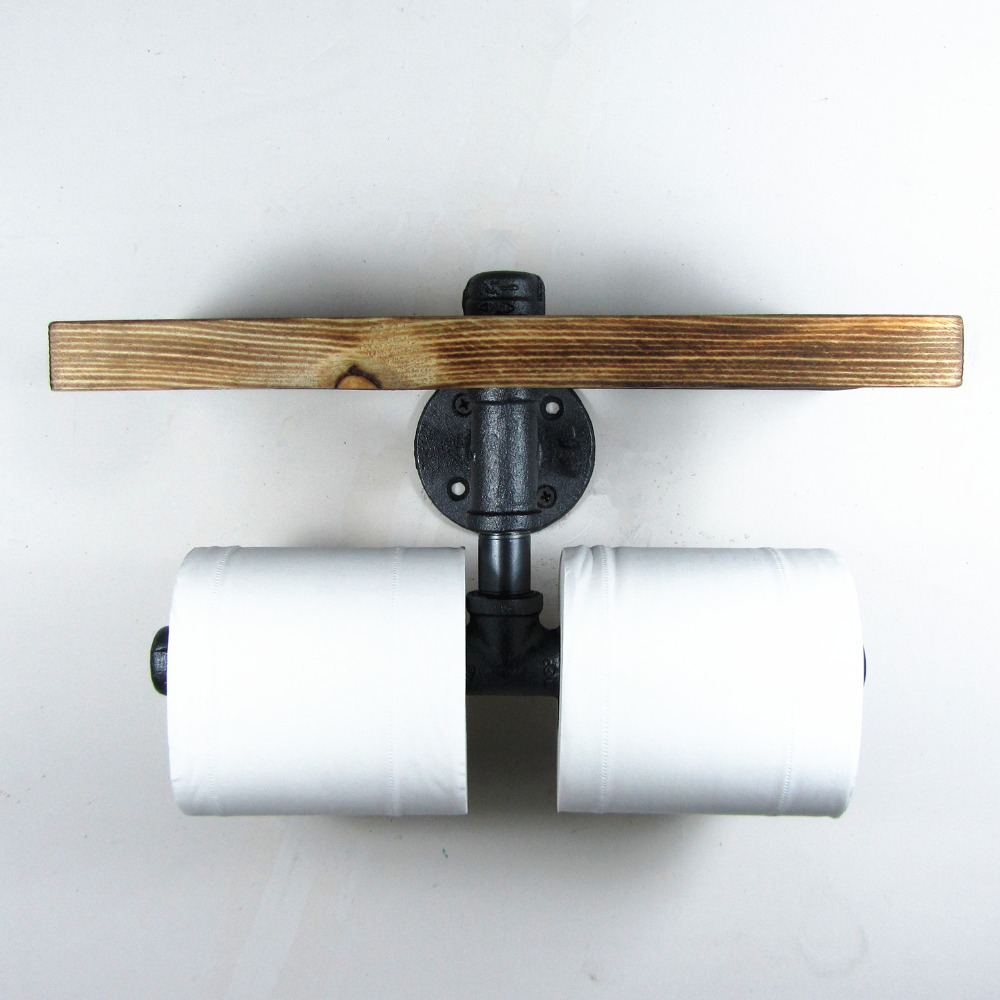 Urban Industrial Style Wall Mount Iron Pipe Double Toilet Paper Holder Roller Wood Shelf Restaurant Restroom Bathroom Decoration suporte de madeira na parede