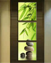 3 Pcs/Set Artist Canvas Still Life painting Bamboo and Stone vertical forms Prints Wall Pictures for Living Room Picture