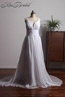 Romantic Chiffon Beach Wedding Dresses Deep V Neck Backless Spaghetti Straps Cheap Bridal Gown Vestido De