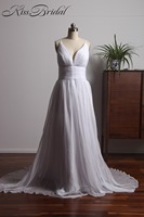 Romantic Chiffon Beach Wedding Dresses Deep V Neck Backless Spaghetti Straps Cheap Bridal Gown Vestido De