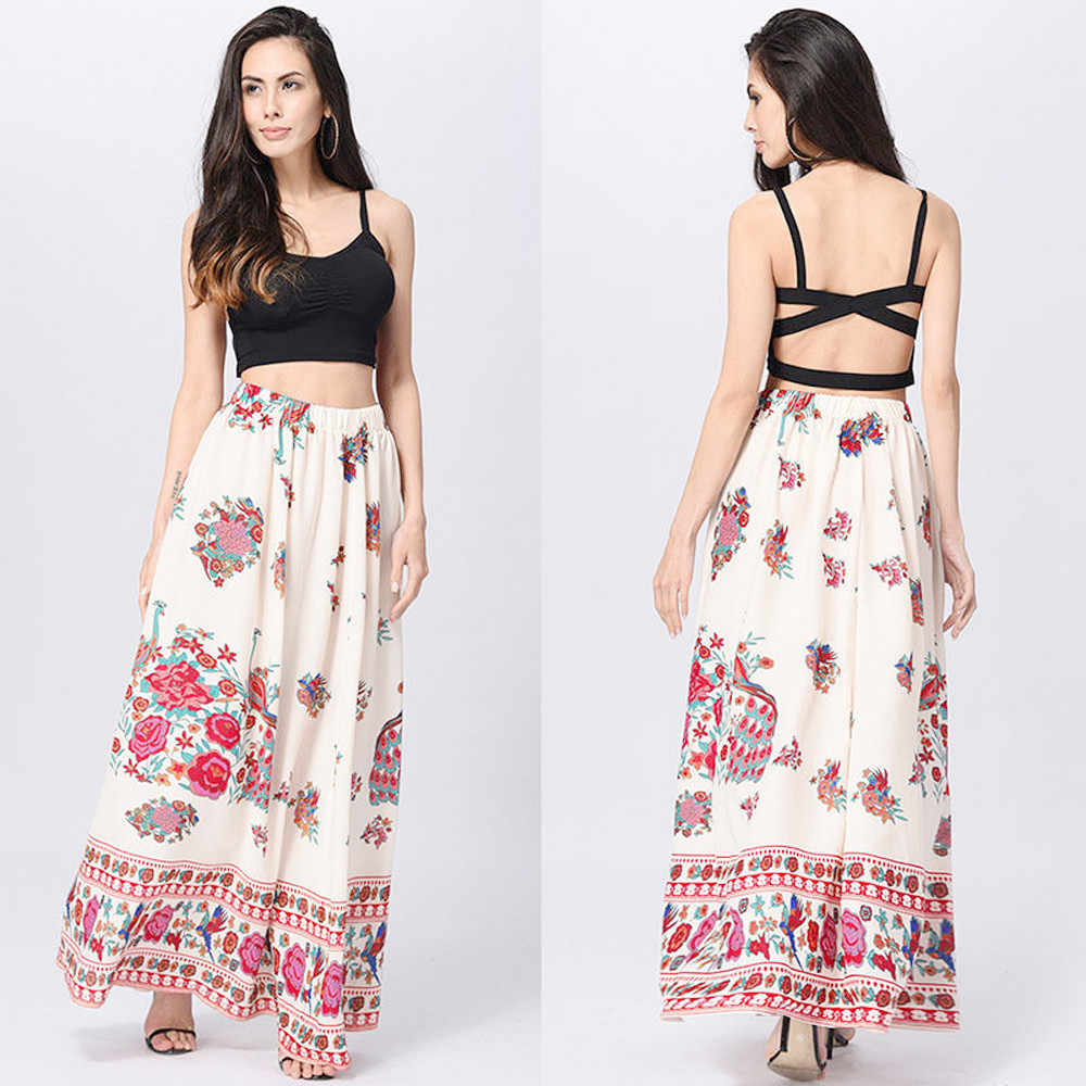 080c32946a ... CHAMSGEND 2018 fashion Women Boho Maxi Skirt Beach Floral Holiday  Summer High Waist Loose Long Skirt ...