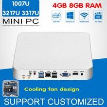 Мини-ПК вентилятор охлаждения внутри Celeron 1037U Core i3 3217U i5 3317U Окна 10 Linux мини настольный компьютер офисные HTPC с Wi-Fi