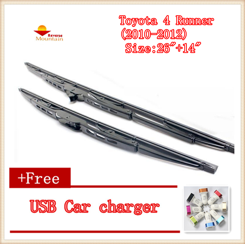 2pcs/lot Car Windscreen Wipers Blades U-type Universal For Toyota 4 Runner (2010-2012) Size:26+14