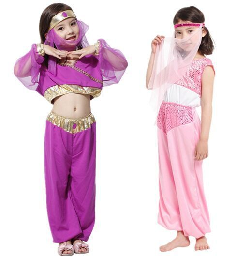 Children Halloween Aladdin Jasmine Princess Cosplay Costume Girls Arabia Dress Pink Purple  Costumes Women