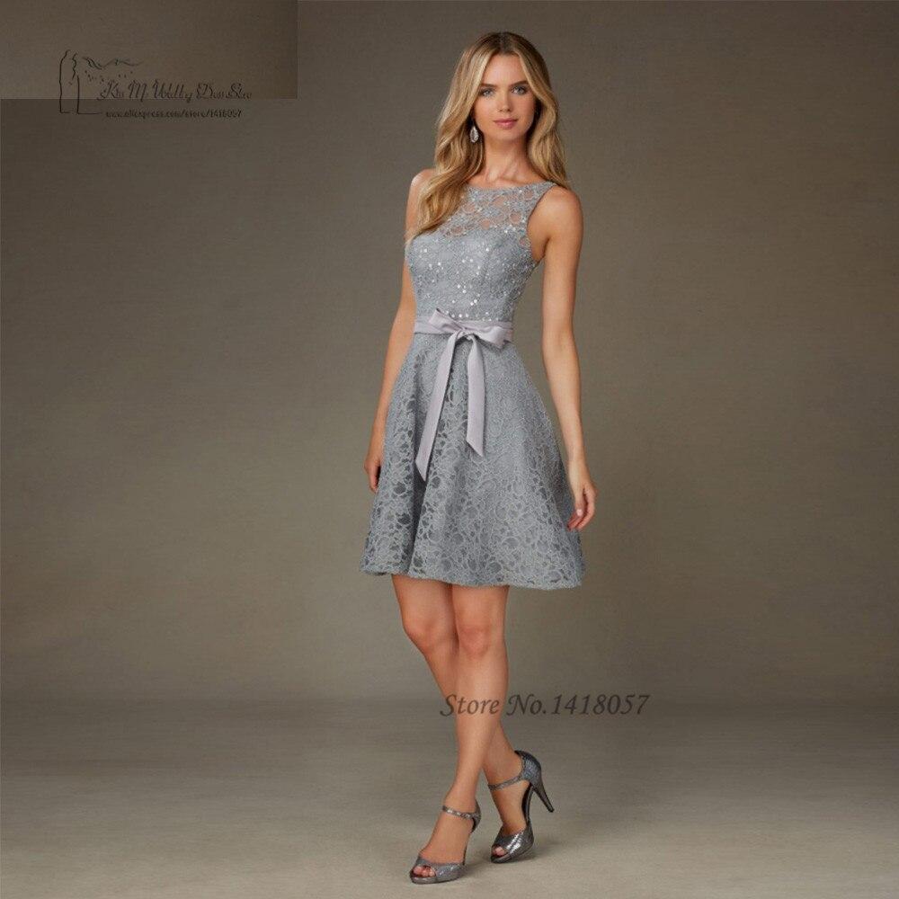 Gray Lace   Bridesmaid     Dresses   Knee Length Short Party   Dress   for Weddings Sequin V Back Custom Made Robe Demoiselle d'honneur
