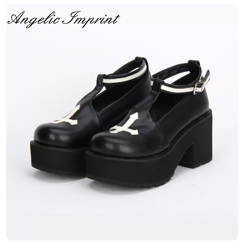Black and White Gothic Cross Design Punk Lolita Shoes Thick Heel Platform Spring Autumn Girls Shoes