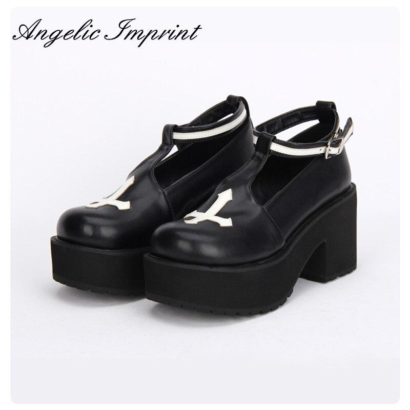 Black and White Gothic Cross Design Punk Lolita Shoes Thick Heel Platform Spring/Autumn Girls Shoes gothic studded bra