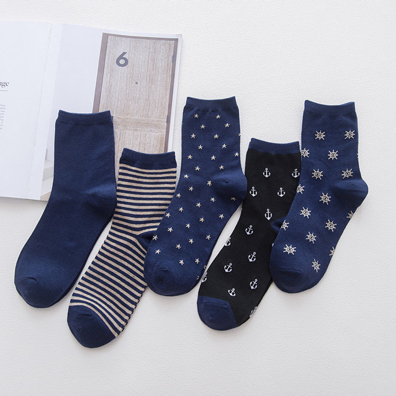 5 Pairs Navy Wind Anchor Style   Socks   for Male Winter New Cotton Fitness Comfortable Breathable   Socks   for Men Calcetines Meias