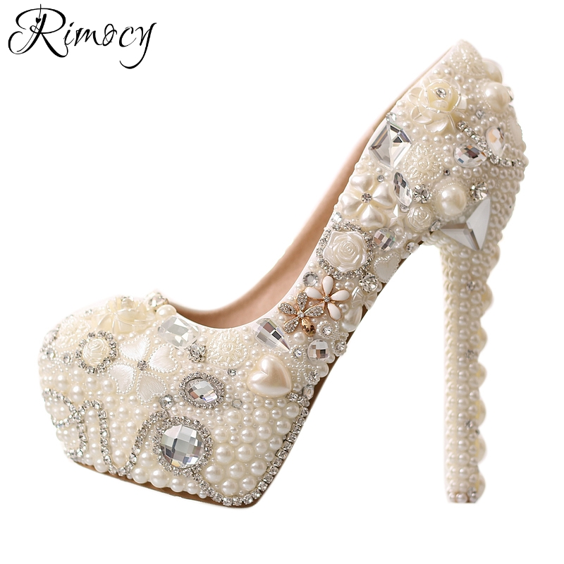 Rimocy handmade pearls women s wedding pumps white red white crystal floral custom thin high heels