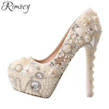 Rimocy handmade pearls women's wedding pumps white red white crystal floral custom thin high heels bride shoes woman party shoes