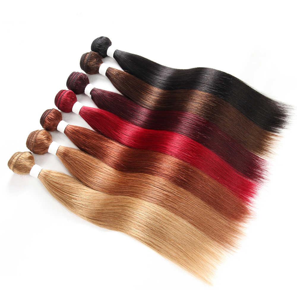 99J/בורגונדי ישר שיער טבעי 3 חבילות עם פרונטאלית 13x4 אופוריה ברזילאי אדום צבעוני רמי צרור שיער שוזר עם פרונטאלית