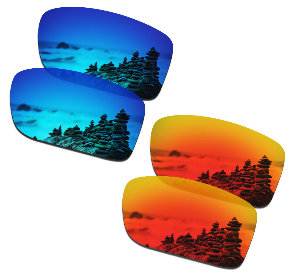 SmartVLT 2 Pairs Polarized Sunglasses Replacement Lenses For Oakley Double Edge Ice Blue And Fire Red