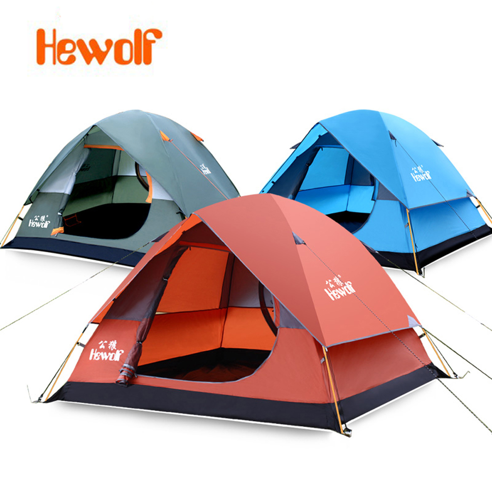 3-4 person AluminumPole Tent Camping Windproof Waterproof Double Layer Tent Ultralight Outdoor Hiking Camping Tent Picnic tents