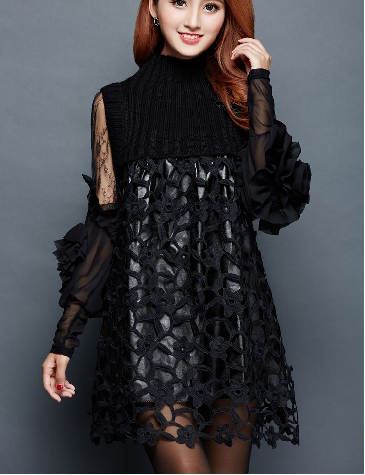 7458d4c8fba 2018 New Design girls casual dresses sets office lady sexy slim black lace  dress women s dinner party clothing size 2XL L  A122-in Dresses from Women s  ...