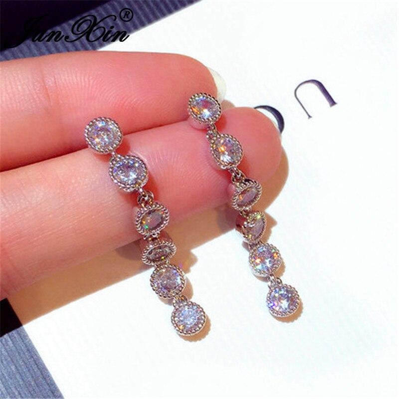 JUNXIN Female Crystal Long Dangle Earrings Silver Color Round White Zircon Drop Earrings For Women Tassel Earrings Wedding
