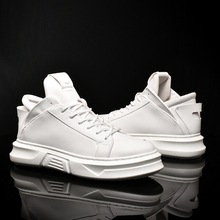 New Fashion High Top Casual Shoes for Men Pu Leather Lace Up White Black Color Mens Sneakers Shoes 4#23D50
