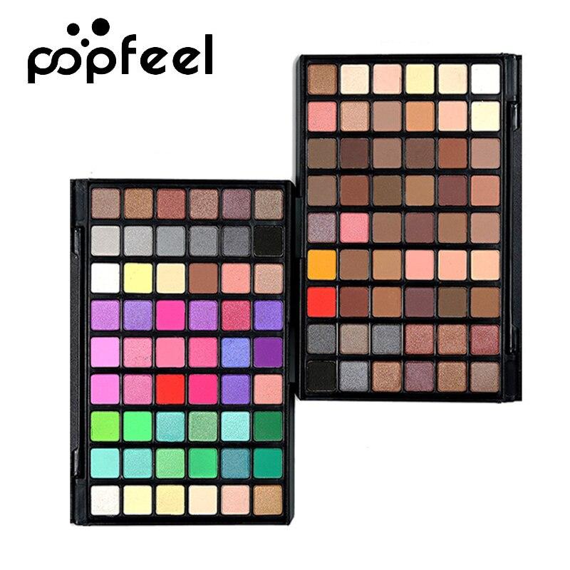 POPFEEL 54 Color Matte Eyeshadow Palette Smoky Makeup Nude Eye Shadow Shimmer Mixed Eyes