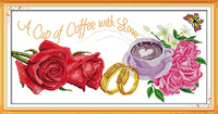 Joy sunday flower style A cup of coffee with love hand embroidery patterns cross stitch needlepoint kits