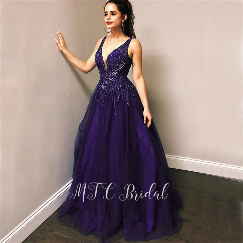 Gorgeous Purple V Neck Long   Evening     Dress   Backless A Line Luxury Beaded Tulle Floor Length Formal Occasion   Dresses   2019 New
