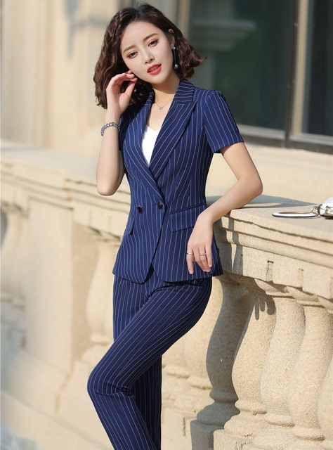 a2d1824e29be4 2019 Summer Formal Professional Business Women Suits With Jackets And Pants  Female Trousers Sets Summer Blazers