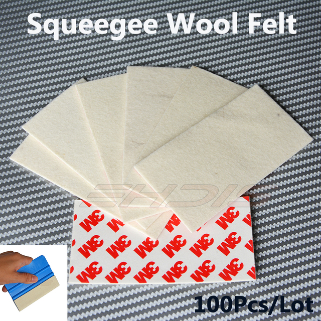 100Pcs 3M Wool Felt Squeegee Car Wrapping Vinyl Film Edge for Sign Vinyl / Vehicle Wrap & Tinting Application Tool 10x5CM A80