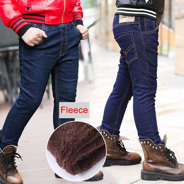 בני ג ינס החורף עבה חם ג ינס מכנסיים ילדים מוצק כותנה צמר מכנסיים ילדים בגדי אלסטי מותניים ג ינס 4 6 8 10 שנים