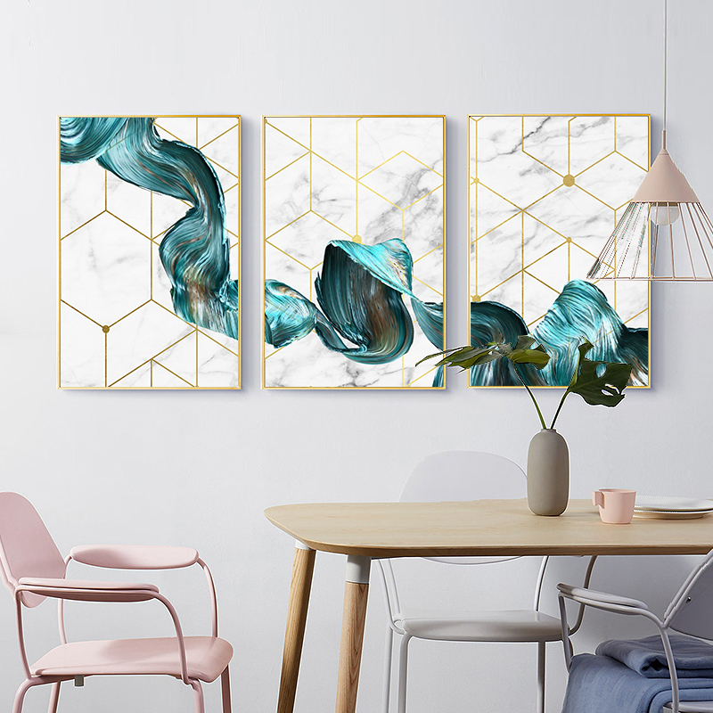 Nordic Geometric Wall Art Canvas Painting Abstract Blue Fabric Poster Print Modern Minimalist Picture For Living Room Home Decor