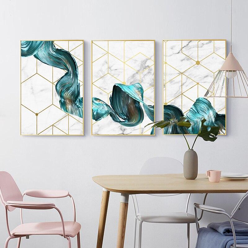 Скандинавская Геометрическая Настенная картина на холсте Абстрактная синяя ткань плакат печать Современная Минималистичная картина для гостиной домашний декор