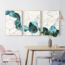 Nordic Geometric Wall Art Canvas Painting Abstract Blue Fabric Poster Print Modern Minimalist Picture for Living Room Home Decor(China)
