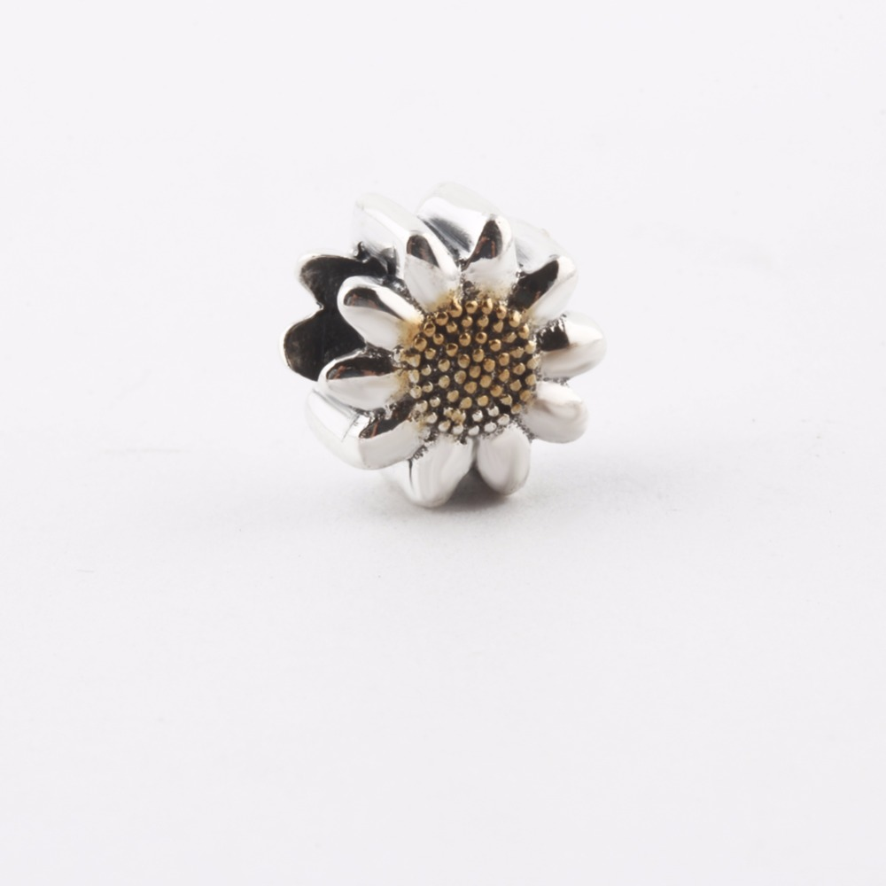 ZMZY Cute Sunflower Beads Original Solid 925 Sterling Silver Charms for Women Fits Pandora Bracelets Jewelry Gift