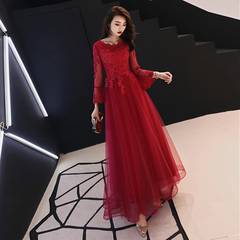 Lace O-neck Chinese Oriental Wedding Female Long Sleeve Cheongsam Vintage Evening Dress Elegant Celebrity Banquet Dresses S-3XL
