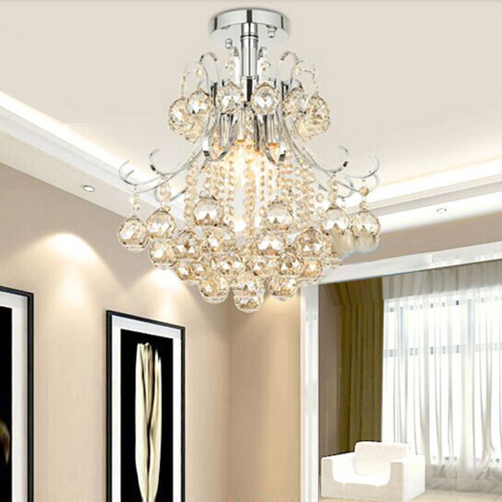 MAMEI Free Shipping Chrome Finish Modern Mini Crystal Chandelier Bedroom  Light With Cognac Color Crystal Ball Decoration
