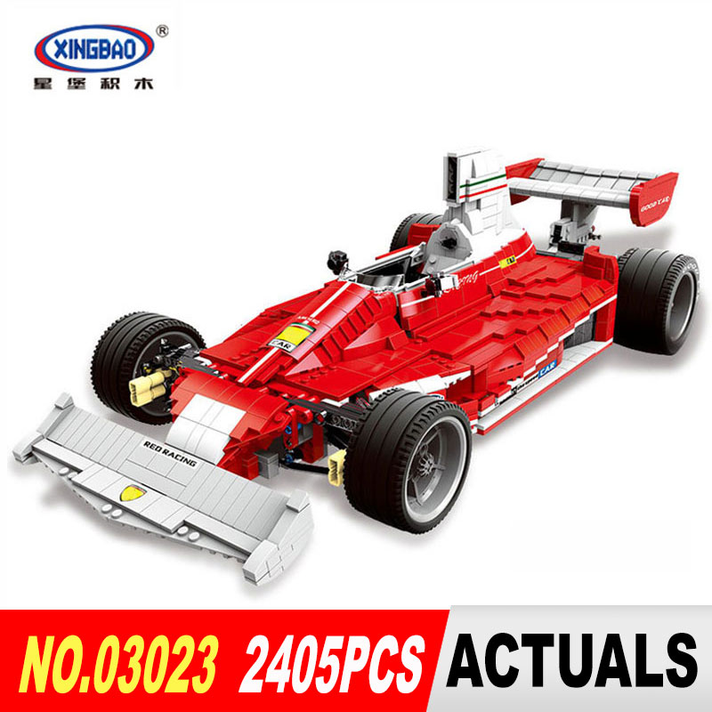 XingBao 03023 2405PCS Genuine The Red Racing Car Set Building Blocks Bricks DIY Educational Toys Model for Children Gifts 2016 new transport cruiser suv 200pcs racing car model building blocks sets educational diy bricks toys for children