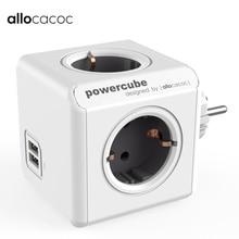 Блок питания Allocacoc, Сетевой удлинитель серого цвета с 4 розетками, двумя USB портами